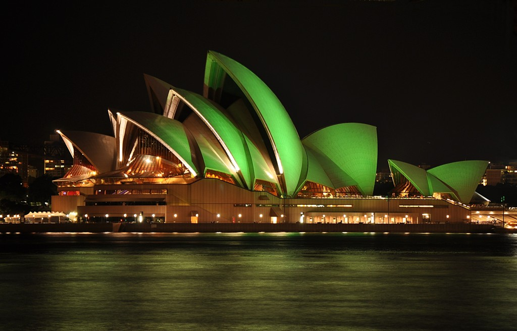 In the spirit of Australia's UAS progress: the Sydney Opera House lit green for St. Patrick's Day.
