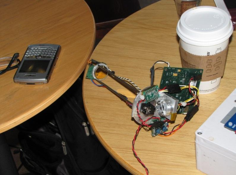 JPL's prototype methane detector (with Starbucks and what looks like a government-issued Blackberry)